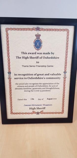 Thame Senior Friendship Centre award